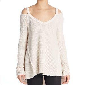 Free People Cold Shoulder Waffle Knit Sweater Boho